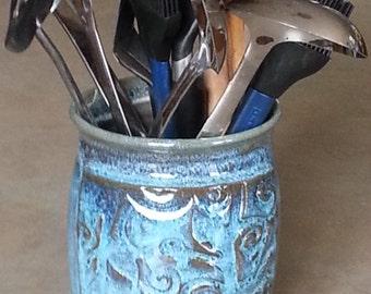 Pottery utensil holder, Blue spatula holder, Ceramic spoon holder, Handmade cylinder