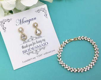 Gold Bridesmaid Earrings Set, Gold Bridesmaid Bracelet Earrings Set, Bridesmaid Jewelry Gift, Jaelynn Gold Bridesmaids Bracelet Set