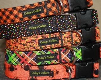 "Halloween Dog Collar, Boy Dog Collar, Male Dog Collar, Girl Dog Collar,  Plaid Dog Collar, Dog Collar, ""The Halloween Collection"""