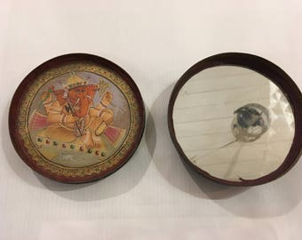 Rare old vintage tribal lord ganesha painting and mirror in a brass box