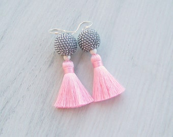 Short tassel earrings - Oscar style silk tassel earrings - beaded silver ball pink tassel earrings - Handmade Tassels - Boho Chic Tassels