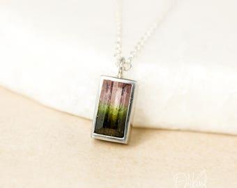 Silver Watermelon Tourmaline Necklace - Emerald Cut Tourmaline - Choose Your Tourmaline