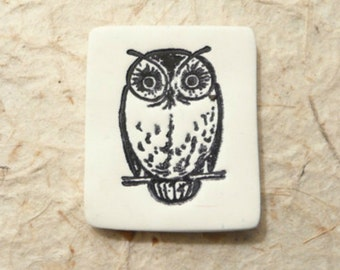 Whimsical Owl Pin Brooch, Black and White Bird Jewelry, Woods Woodland Nature Wildlife, handmade polymer clay