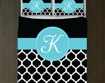 Quatrefoil Bedding Set-Duvet Cover-Shams-Personalized-Monogram Initial-Custom-Black-Aqua Blue-White-ANY COLORS-Twin XL/Full/Queen/King-Size