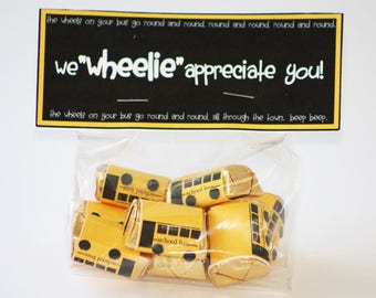 bus candy wrapper instant download, bus driver appreciation, bus printable