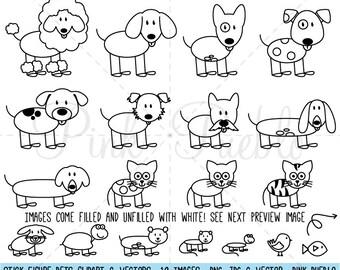 Stick Figure Pets Clipart Clip Art Vectors, Stick Family Animals Clip Art Clipart Vectors - Commercial and Personal Use