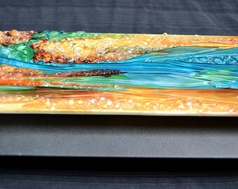 Renovatus II - Modern Fused Glass Wall Hanging Art with Enamels Mounted on Steel - Made to Order