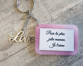 "Keychain ""for the prettiest moms I love you"""