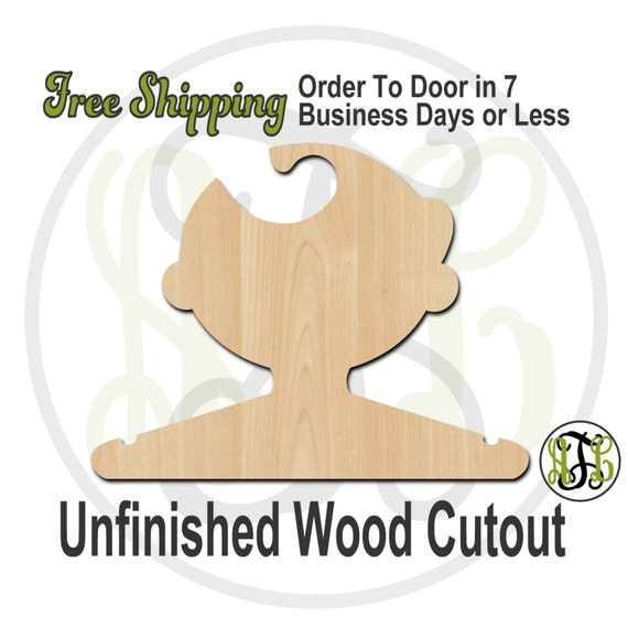 Boy with Hat Closet Hanger - Adult or Child Size Cutout, unfinished, wood cutout, wood craft, laser cut, wood cut out, DIY, Free Shipping