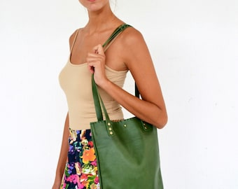 Green leather everyday tote bag