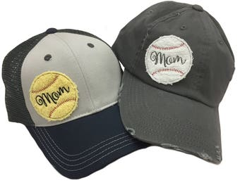 Baseball and Softball Mom Adult Hats by Chic Baby Rose - More Colors and Styles