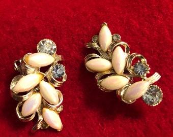 Vintage BSK Earrings Baby Blue Rhinestones withe pearl like iridescent marquis