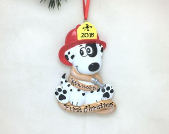 Dalmatian in a Firefighter Helmet with Firehose / Fireman Ornament / Firefighter / Toddler Gift / Child / Firehouse Mascot