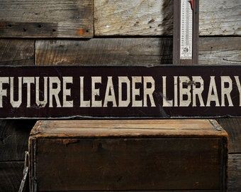 Custom Distressed Library Sign - Rustic Hand Made Vintage Wooden ENS1000631