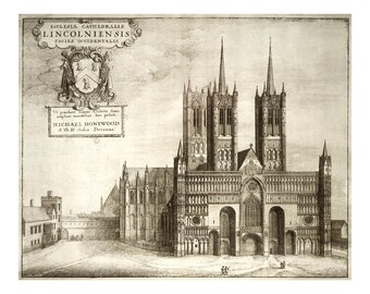 Lincoln Cathedral - Vintage Architectural Print - Religious Art Print - English Decor - London Baroque Cathedral Architecture Drawing