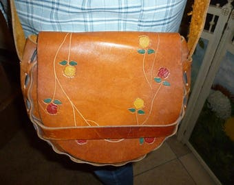 Large Leather Hippie Bag 1970's