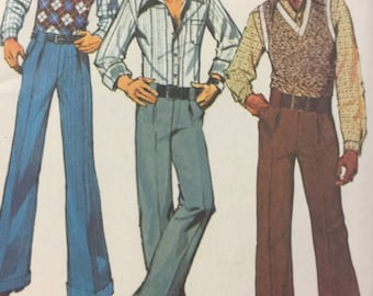 1970s,Men's Pants Simplicity 5881, Teen Boy's, Vest, Shirt, Sewing Pattern, Pullover Vest, Buttoned Cuff Shirt, Pants Pockets, Cuff Pants