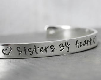 Silver Best Friends Bracelet, Sisters By Heart Cuff, Hand Stamped Silver Jewelry, Sister Jewelry, Hand Stamped Cuff,  Personalized Jewelry