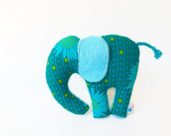 Plush Elephant  Minky Stuffed Animal Teal Aqua Blue Lime Sunflowers
