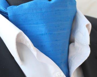 Cravat Ascot.100% Silk Front UK Made.Sapphire Blue Dupion Silk + match hanky.