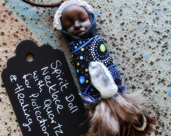Spirit Doll Necklace - with Quartz - Handcrafted Spirit Doll Pendant  . Handmade Clay Jewelry . Goddess . Crystal and Gemstone Jewelry