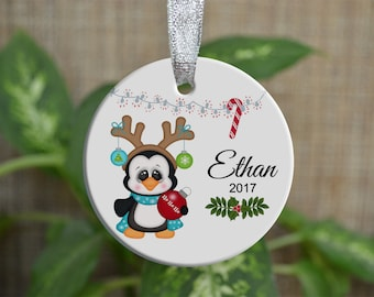 Personalized Christmas Ornament, Baby First Christmas ornament, Custom Ornament, Newborn baby gift, penguin ornament, Christmas gift. o058