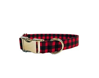 Metal Buckle Red Buffalo Check Dog Collar black gingham plaid winter Christmas holiday puppy chrome Hardware cotton Fabric Adjustable