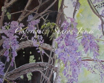 Writhing Wisteria-Original Mixed Media Painting, 14 x 18 inches, by Sharon James