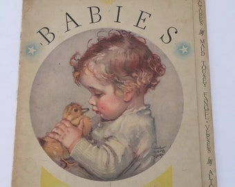 Vintage 1933 Babies Verses Book Pictures by Maud Tousey Fangel Book by Alice Higgins