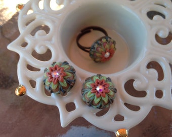 Two Pairs of Stud Earrings,and a Ring. Polymer Clay Filigree