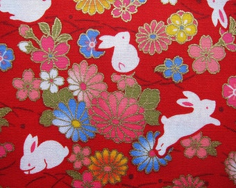 Animal Print Fabric - Oriental Rabbits on Red - Animal Floral Cotton Fabric - Half Yard