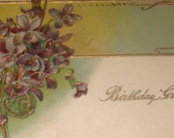 SALE Pretty Vintage Floral Postcard (Violites)