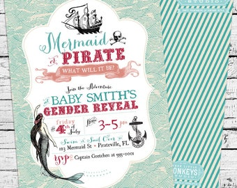 Vintage Mermaid and Pirate Gender Reveal Baby Shower Party Invitation
