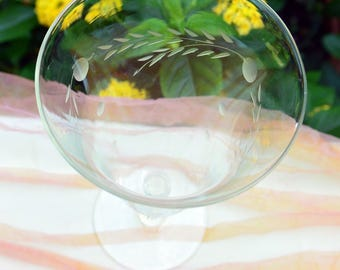 Etched Wine Glass - Stem, Hand Blown, Leaves/Dots - Vintage -  Fabulous!