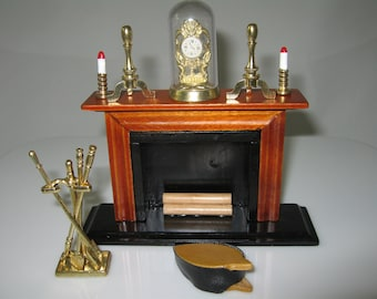 1:12 Scale Dolls House Miniature Fireplace and Accessories