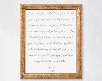 Custom Calligraphy Printable Wedding Vows