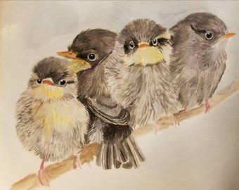 11x15 watercolour of Little birds, baby birds