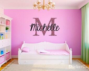 "Pink Cheetah Monogram Name Girls Room Vinyl Wall Decal Graphics 28"" tall Bedroom Decor"