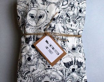 Fitted Cot Sheet / Fitted Crib Sheet in Navy Menagerie print - READY TO SHIP by Little Dreamer