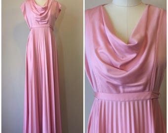 Vintage 70s Pink Pleated Formal Party Dress | 1970s Cowl Neck Disco Prom Dress Gown