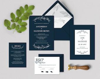 Printable Wedding Invitation Template, Instant Dwonload, Classic, Word, Easy DIY, Editable Invitation, silver foil, Navy, Invitation set