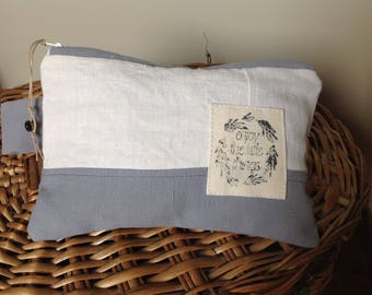 Made from vintage, ecru and grey linen pouch