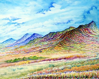 Ridge lines, New Mexico landscape, Original Watercolor