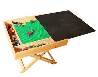 Foldable Lego table and organizer with storage, wooden chalkboard and white board for kids