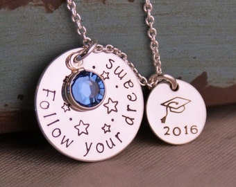 Graduation Necklace / Follow your dreams / Handstamped Sterling Silver Necklace / Class of 2017