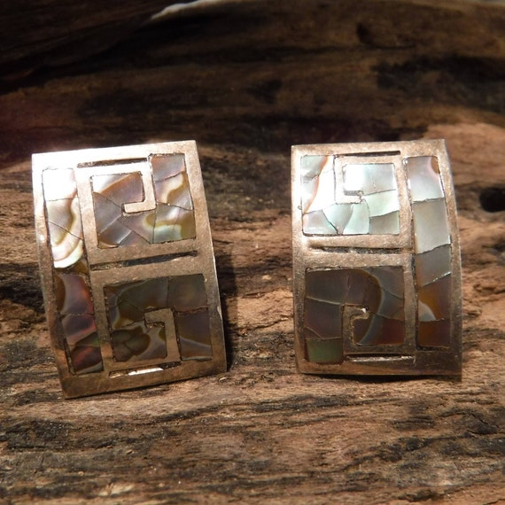Large Sterling Silver Abalone Earrings Mexico Vintage Sterling Silver 5.7 grams 925 Silver Screw Back Earrings Signed JP Vintage Earrings