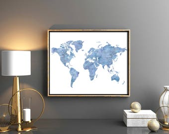 Turquoise world map etsy world map printable world map lovely blue turquoise world map wall art world map print watercolor gumiabroncs Images