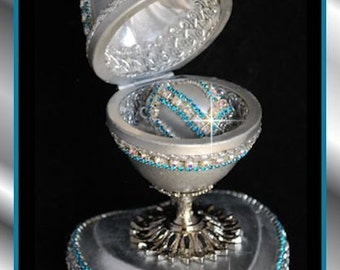 Faberge Style Egg Art Goose Egg Trinket box.