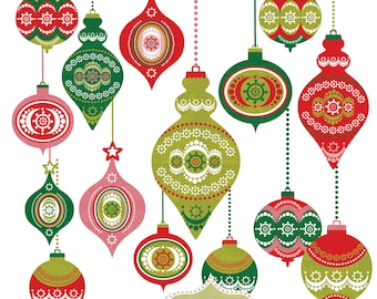 Christmas Decorations Clip Art Balls Clipart Instant Download Tree Ornaments 15 Printable Red Green