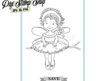 Fairy in Tree Stamp, Digital Stamp, Fairy Stamp 2, Digi Stamp, Girl Stamp, Color In Page, Card Design, Lineart, Tree fairy stamp,